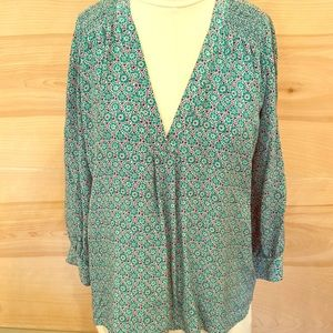 Joie silk blouse green/ blue size small